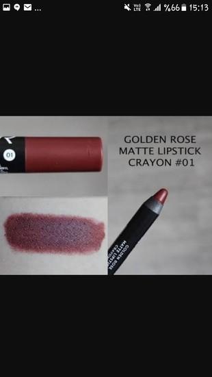 Golden Rise Matte Lipstick Crayon 01 Kalici Mat Ruj Golden Rose