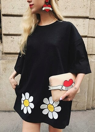 Siyah Yazbukey Baskılı Pike Elbise