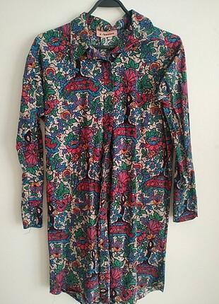 R-basic çiçek desenli pamuklu gömlek