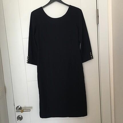 Lacivert sade şık elbise