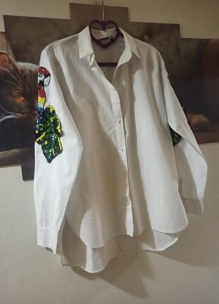 Papağan Payetli Gömlek