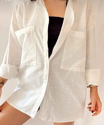 Oversize büyük cepli keten gömlek