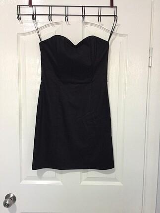 H&M 40 siyah straptez kısa elbise