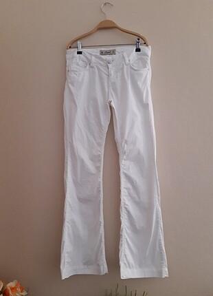 Luwit beyaz ispanyol paça kumaş pantolon