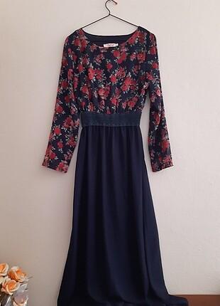 Aybqe kadın çiçek desenli uzun elbise