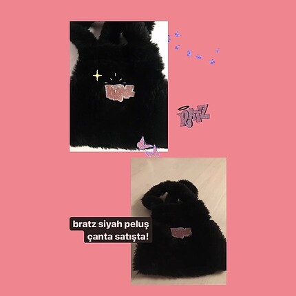 Bratz Siyah Peluş Çanta