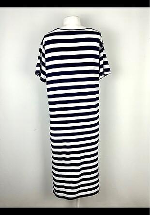 l Beden Çizgili Elbise