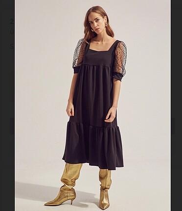 Siyah bol kesim elbise