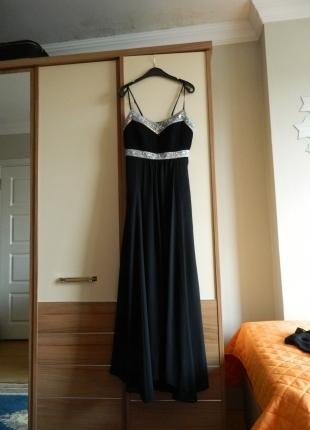Siyah Uzun Abiye Elbise& Tül Şal