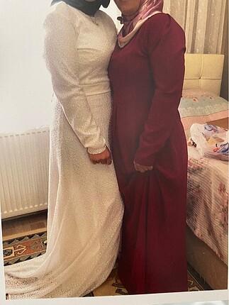 Beyaz Dantel Kemerli Tesettür Uzun Elbise