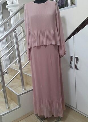 Puane Piliseli Uzun Tesettür Pudra Elbise