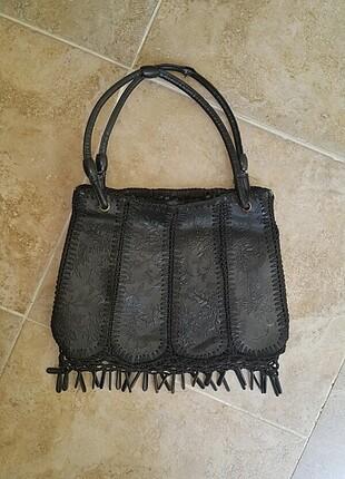 Deri vintage sorunsuz çanta