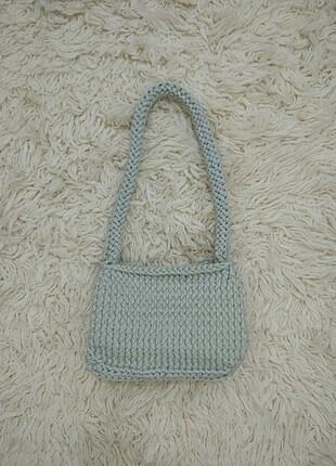 Haki yeşili penye örgü çanta