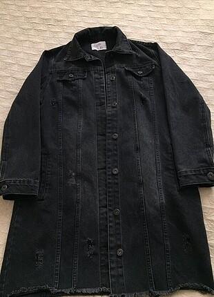 Kot ceket siyah kadın uzun tesettur tunik