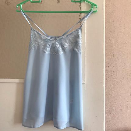 Mavi dantelli askılı bluz M/L beden