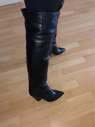 Diz üstü gerçek deri ilvi çizme