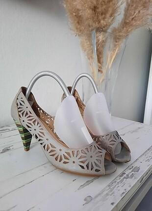 Deri vizon yazlık topuklu ofis sandalet abiye