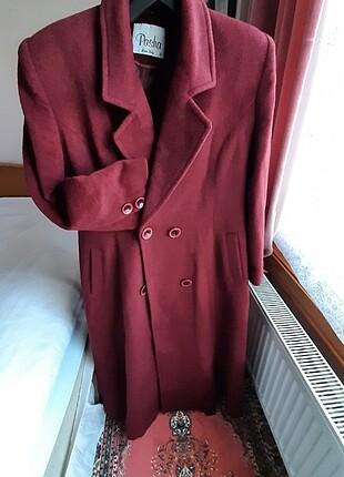 Pasha marka XL, kaşe, koyu bordo uzun palto 2 beden.