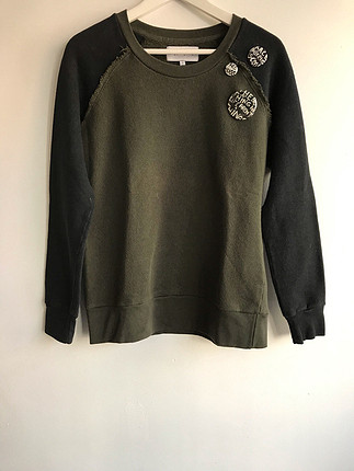 Haki - siyah sweatshirt