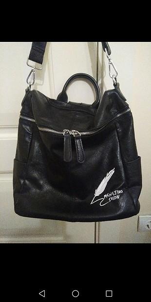 DSN deri sırt çantası