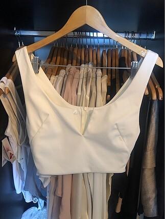 Beyaz Crop Bluz