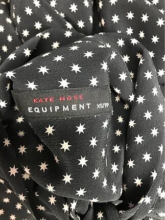 xs Beden siyah Renk Desenli İpek Bluz