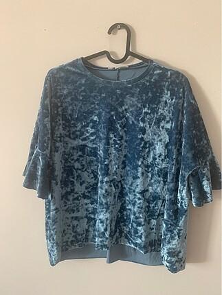 Koton kadife kolları pikseli bluz
