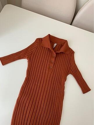 Kiremit rengi triko bluz