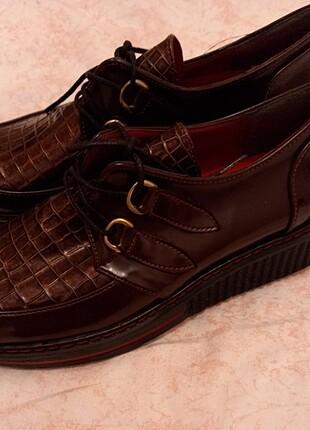 37 Beden bordo Renk Oxford loafer ayakkabı