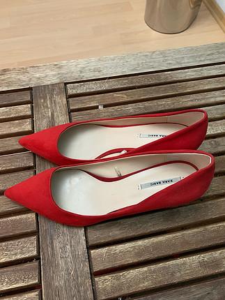 Zara süet kırmızı ayakkabı-kısa topuk sıfır