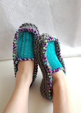 Designer Knitting Lollipop Candy Kadife Yün Renkli Panduf Patik
