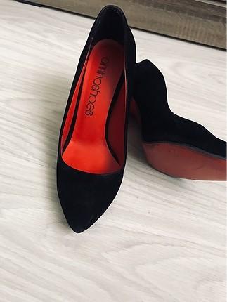Süet çok şık topuklu ayakkabı