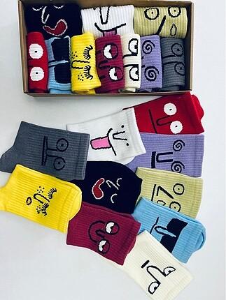 10 lu unisex yüz desenli çorap seti