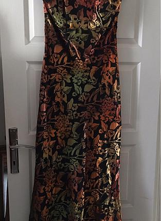 42 Beden İnce Kadife çok şık boyundan bağlamalı Abiye elbise