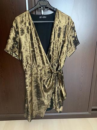 m Beden altın Renk Kruvaze Elbise