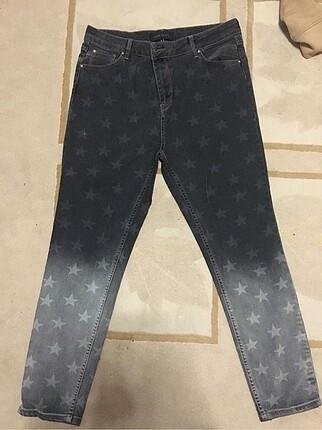 Gri yıldız desenli jean