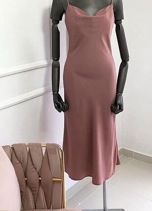 Zara Pembe Saten Elbise