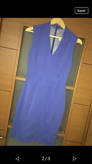 Mavi viskon elbise