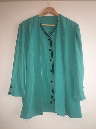 Turkuaz vintage bluz