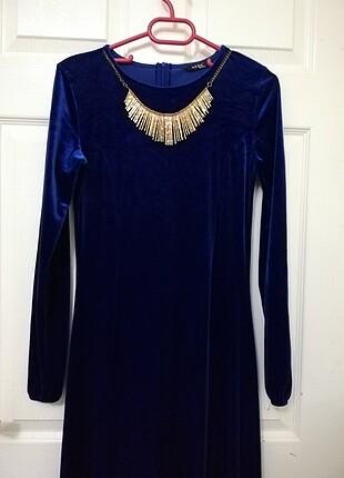 Mavi Kolye Detaylı Kadife Elbise 38 Beden