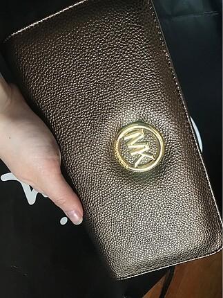 Kahve bronz çok şık kadın cüzdan MK