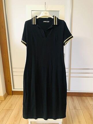 Siyah lacoste kumaş kolu yakası simli elbise