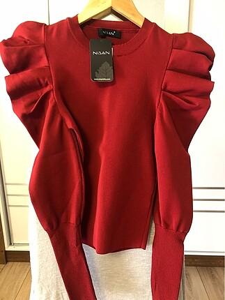 Bordo koyu kırmızı prenses kol bluz ve ekose etek
