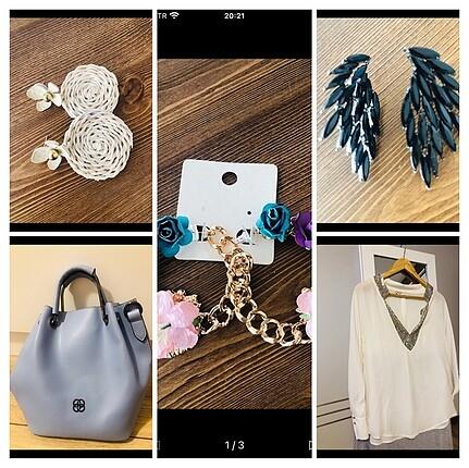 universal Beden Çoklu bluz,elbise ve küpe paketi