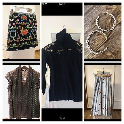 universal Beden çeşitli Renk Çoklu bluz,elbise ve küpe paketi