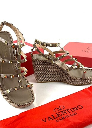 Valentino Rockstud Rope Ankle Strap Wedge Sandals