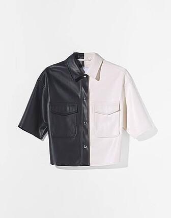 Berhska siyah beyaz deri ceket