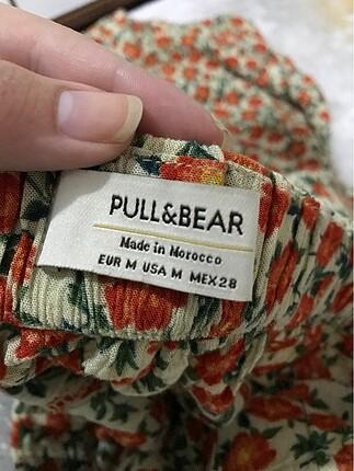 m Beden Pull and bear turuncu çiçekli midi etek