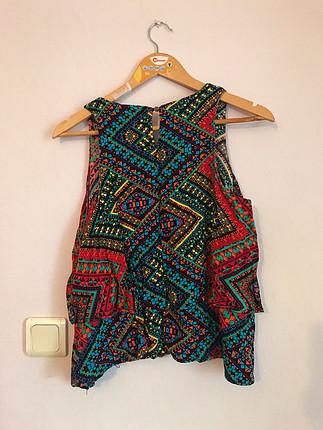 Etnik desenli renkli bluz
