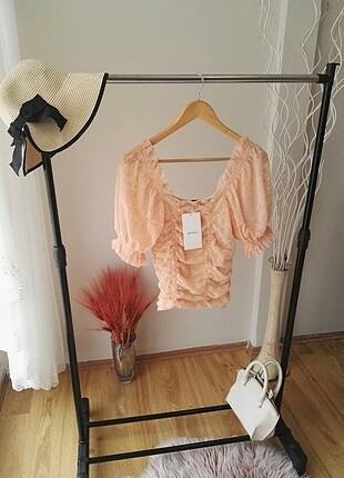 Orjinal Marka Somon Renk Tül Detaylı Bluz